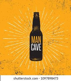 Man Cave Beer Bottle Illustration On Rough Background. Creative Vector Concept.