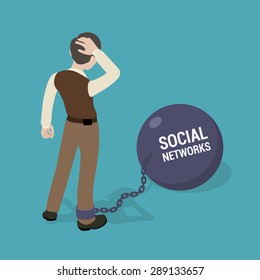 Man chained to a huge bowl with the inscription Social Networks. Conceptual illustration suitable for advertising and promotion