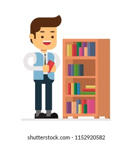 Man character avatar icon.librarian with a bookshelf