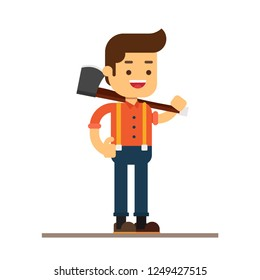 Man character avatar icon.Loggers or woodcutters