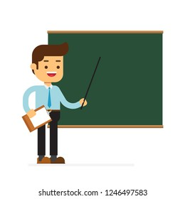 Man character avatar icon.teacher male with chalkboard