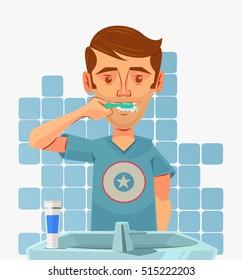 Man character brushing teeth at morning. Vector flat cartoon illustration