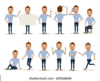 Man character in casual clothes in different poses. Vector illustration.Isolated on white background