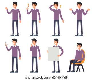 Man character with different emotions. Flat style vector illustration.