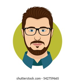 Man character face avatar in glasses. Modern colorful style. Male portrait. Vector cartoon illustration. EPS 10.