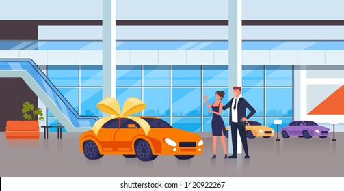 Man character gift new car to his wife. Vector flat cartoon graphic design isolated illustration