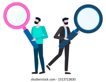 Man character holding magnifier isolated financial analytics investigating sale, detectives searching. Male character and loupe, person with lens vector
