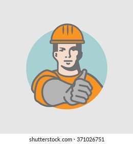 Man character and industry worker character show thumbs-up