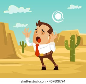 Man character lost in desert. Need help. Vector flat cartoon illustration
