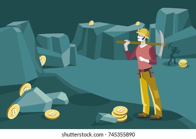 Man character as a miner mining the cryptocurrency with a pickaxe to obtain  bitcoin. Conceptual illustration. Flat editable vector illustration.