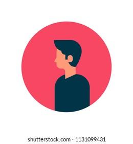 man character profile portrait on white background male avatar flat cartoon vector illustration