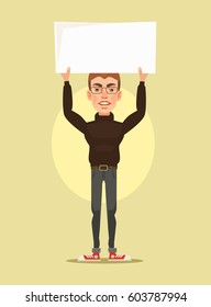 Man character protest. Vector flat cartoon illustration