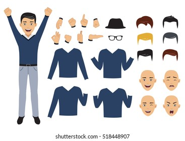 Man character set with face and body elements, Isolated, vector illustration