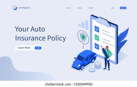 Man Character Signing Car Insurance Policy Form. Insurance Agent providing Security Document. Auto Care and Protection Concept. Flat Isometric Vector Illustration.
