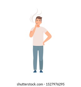 Man character stands and smoke vector illustration