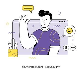 Man Character. Video conference.  Vector flat style illustration. Молодой человек, парень. Видео конференция.