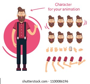 Man Charakter für Ihre Szenen.Charakter bereit für Animation. Hübscher Cartoon. Zeichensatz spricht Animationen.