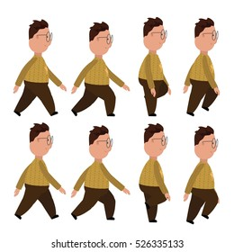 Man character for your scenes.Character ready for animation. Funny cartoon.Man walks.