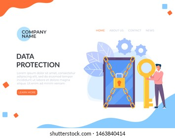 Man characters holding key and unlock privacy smartphone personal data information. Data protection online login password web banner page concept. Vector flat cartoon graphic design isolated