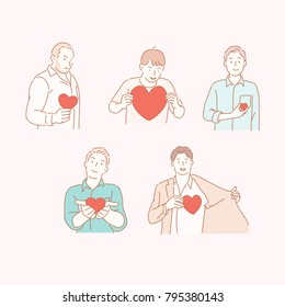 man characters send love hearts hand drawn style vector doodle design illustrations.