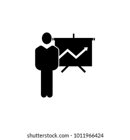 man with a chart presentation icon. Element of finance for mobile concept and web apps. Illustration icon for website design and development, app development. Premium icon on white background