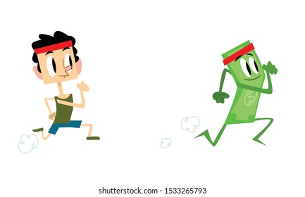 Man chasing a dolar, trying to reach the money on white background. Concept of It is hard to make a financial progress. Vector illustration. Flat design.