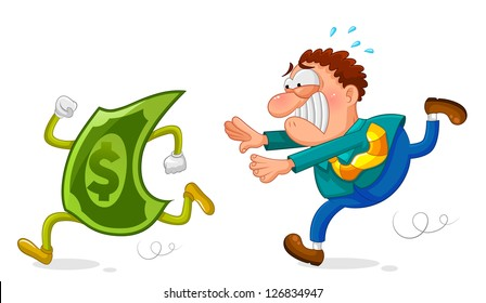 man chasing a sneaky dollar (JPEG available in my gallery)