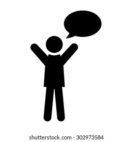Man with Chat Bubble Icon - Vector