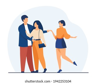 Man cheating his girlfriend with another woman. Love, infidelity, truth flat vector illustration. Relationship and adultery concept for banner, website design or landing web page