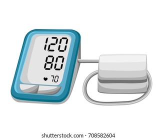 Man checking arterial blood pressure. Digital device tonometer. Medical equipment. Diagnose hypertension, heart. Measuring, monitoring health. Healthcare concept. Vector illustration