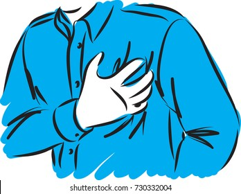 man with chest pain vector illustration