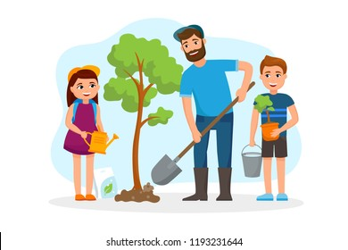 Man and children plant a tree and watering vector flat illustration with cheerful cartoon characters isolated on white background. Family Save trees concept illustration