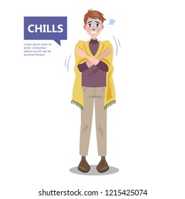 Man with a chill. Symptom of disease. Guy feel cold and shiver. Flu or cold. Flat vector illustration