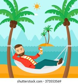 Man chilling in hammock.