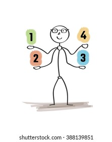 man and choices with numbers on white background
