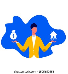 Man choosing between home and money flat vector illustration. Budget planning concept isolated clipart. Money savings investment and funding. Bank loan and economy choice. Financial literacy.