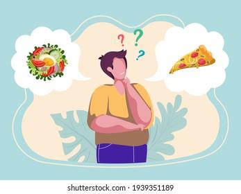 Man choosing menu. Male character making choice what to eat. Healthy vs unhealthy. Junk food versus balanced food. Nutrition. Colourful vector illustration. Flat cartoon style.