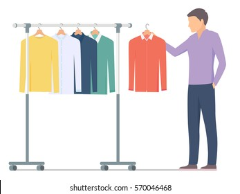 Man choosing shirt near rack with clothes. Vector illustration