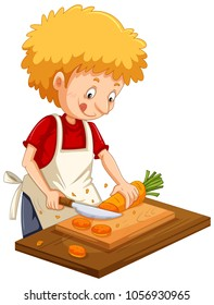 Man chopping carrot on cutting board illustration