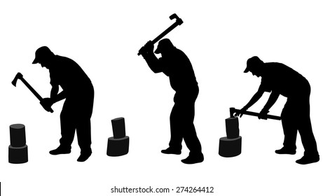 man chopping woods silhouettes