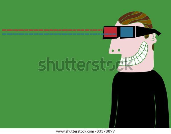 man with cinema goggles