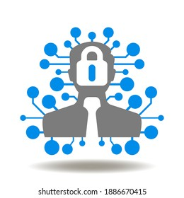 Man with circuit line and lock in hand vector icon. DPO Data Protection Officer Symbol. GDPR Controller Rule Compliance Logo.