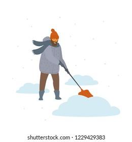 man clean up shoveling snow drifts cartoon isolated vector illustration winter scene