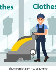 Man cleaning floor in hall of shopping mall. Young guy using scrubber machine. Showcase of boutique on background. Flat vector design