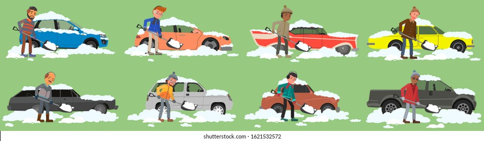 A man cleans snow near a car. Set of vector illustrations. flat design style.