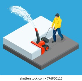 A man cleans snow from sidewalks with snowblower. City after blizzard. Isometric vector illustration