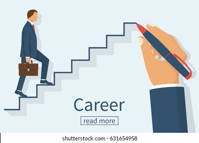 Man is climbing career ladder. Human hand drawing stairs close up. Concept of business development. Vector illustration flat design. Isolated on white background. Step by step.
