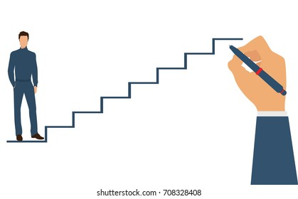 Man is climbing career ladder. Human hand drawing stairs close up. Concept of business development.