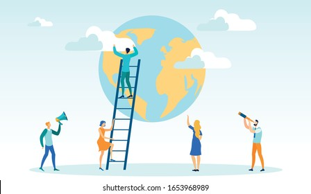 Man Climbing on Ladder, Taking Clouds away from World Globe Flat Cartoon Vector Illustration. Getting to Top, Having Ambition, Successfully Reaching Goal, Motivation, Achievement, Career Growth.