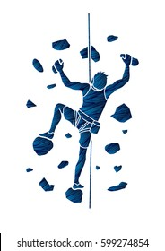 Man climbing on the wall designed using grunge brush graphic vector.